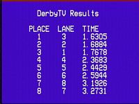 DerbyTV results screen for pinewood derby race